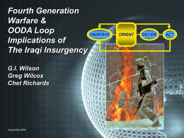 Fourth Generation Warfare & OODA Loop Implications …