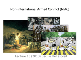 Non-international Armed Conflicts (NIACs) and Combatants
