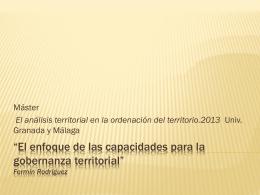 El enfoque de las capacidades para la gobernanza territorial