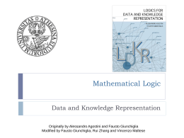 Logics for Data and Knowledge Represenation