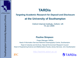TARDis Targeting Academic Research for Deposit and