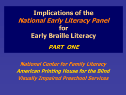 Implications of the National Early Literacy Panel for