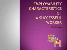 Employability Characteristics of A Successful Worker