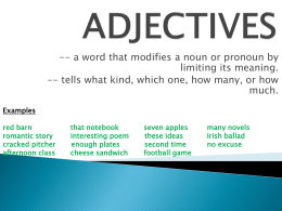 ADJECTIVES - Public Schools of Robeson County / Overview