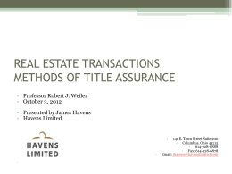 REAL ESTATE TRANSACTIONS METHODS OF TITLE …