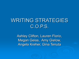 WRITING STRATEGIES C.O.P.S. & Writers Workshop