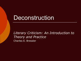 Deconstruction - The University of Texas at Arlington