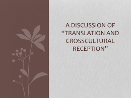 "A Discussion of ""Translation and CrossCultural Reception"""