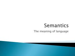 Semantics - Wikispaces