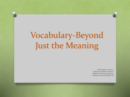 EAP Vocabulary-Beyond Just the Meaning