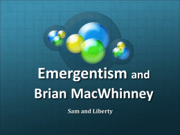 Emergentism and Brian Mcwhinney