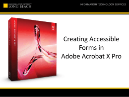 Creating Accessible Forms in Adobe Acrobat X Pro