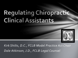Regulating Chiropractic Clinical Assistants