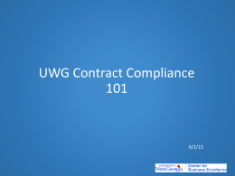 UWG Contract Compliance 101