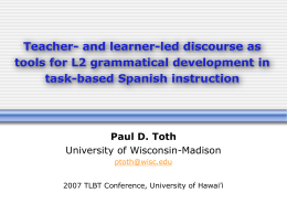 Teacher- and learner-led discourse in L2 Spanish