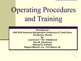 Operating Procedures and Training - Wagner
