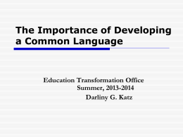 The Importance of Developing a Common Language