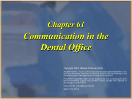 Communication in the Dental Office