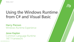 TOOL-531T: Using the Windows Runtime from C# and …