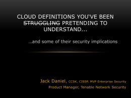 Jack Daniel, CCSK, CISSP, MVP Enterprise Security