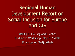 Regional Human Development Report on Social Inclusion