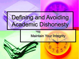 Defining and Avoiding Academic Dishonesty