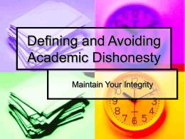 Defining and Avoiding Academic Dishonesty