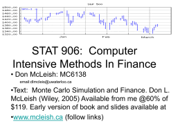 STAT 906: Computer Intensive Methods In Finance