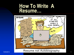 How To Write A Resume…