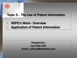 Patent Information, Documentation and PCT-Related