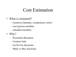 Cost Estimation: Overview