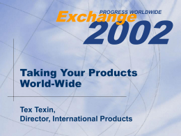 Taking Your Products World-Wide