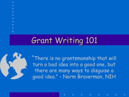 Grant Writing 101 - Whitworth University