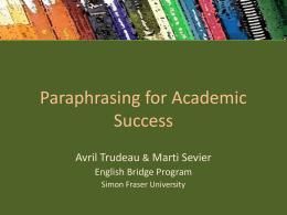 Paraphrasing - SFU.ca - Simon Fraser University