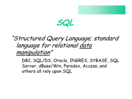 SQL Notes - Cameron School of Business
