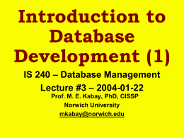 Introduction to Database Development (1)