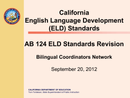 AB124 ELD Standards Revision - English Learners (CA Dept