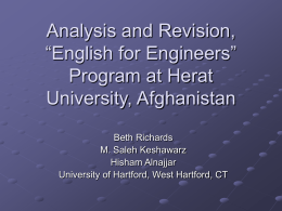 "Analysis and Revision, ""Englisn for Engineers"" at Herat"