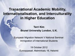 Transnational Academic Mobility, Internationalisation, …