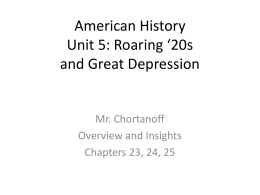 American History Unit 5: Roaring 20s and Great Depression