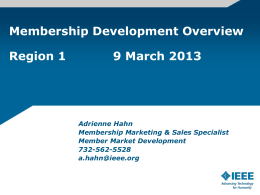 Member Market Development Group: Region 1