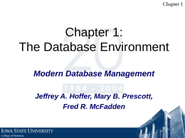 Introduction to Database - Iowa State University College