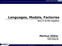 Languages, Models, Factories