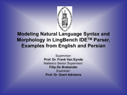 Modeling Persian Language Syntax and Morphology in
