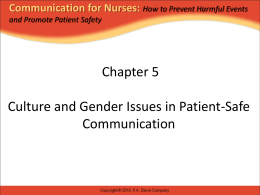 Chapter 1 Communication and Patient Safety