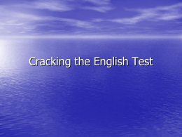 Cracking the English Test - Daviess County Public Schools