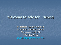 Advisor Training - Middlesex County College