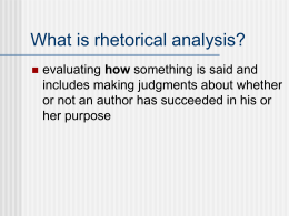 The Analysis Essay - Harrison High School