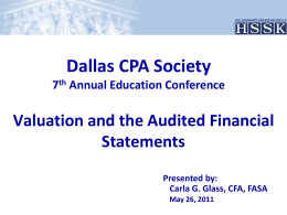 07 - 3pm - Valuation and the Audited Financial Statements