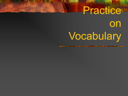 Practice on Vocabulary
